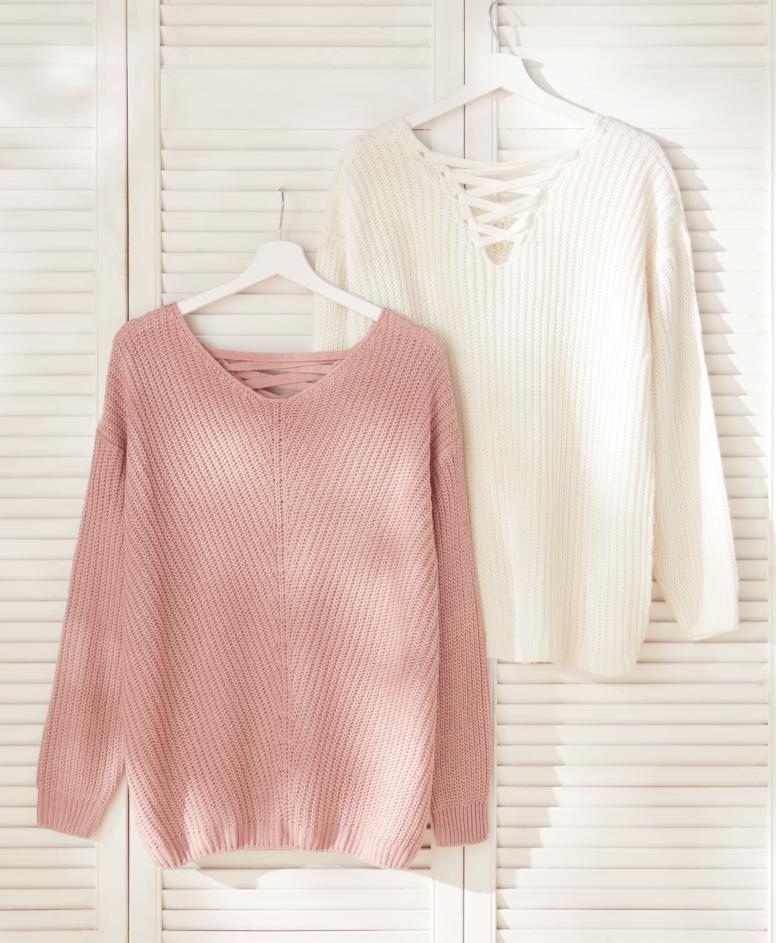 Džemper za žene, bež-roze, veličine: S-XXL