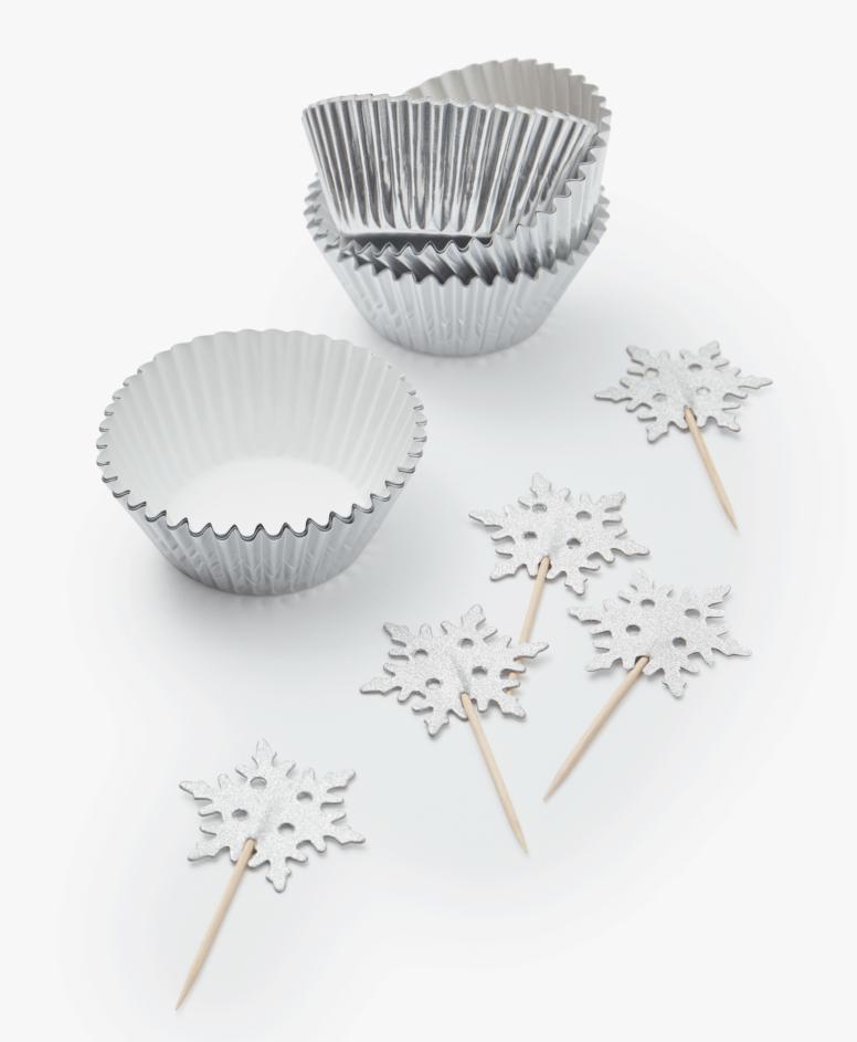 Zestaw dekoracji do muffinek, kolor srebrny