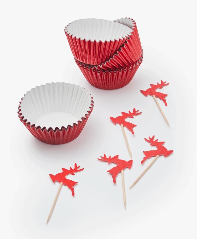 Zestaw dekoracji do muffinek, kolor czerwony