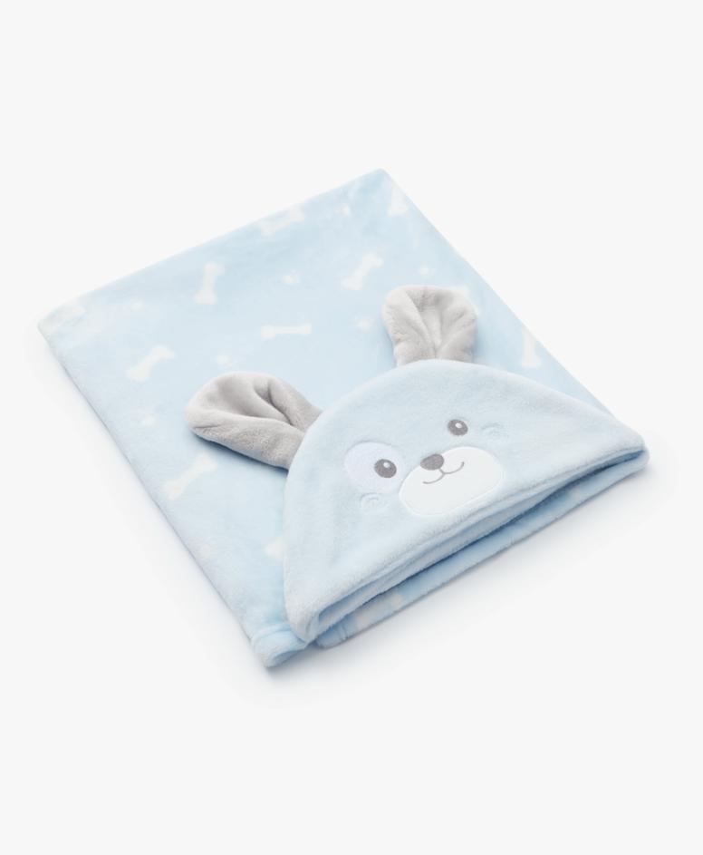 Pokrivač sa kapuljačom za bebe, svetlo plavi, veličine: 75 x 100 cm