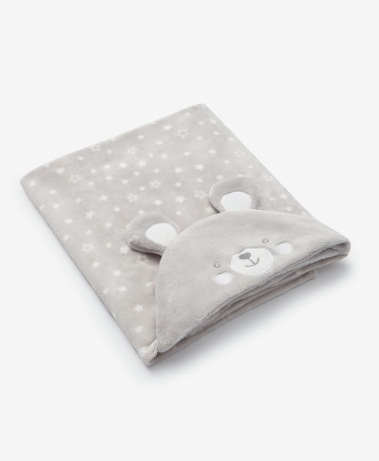 Pokrivač sa kapuljačom za bebe, sivi, veličine: 75 x 100 cm