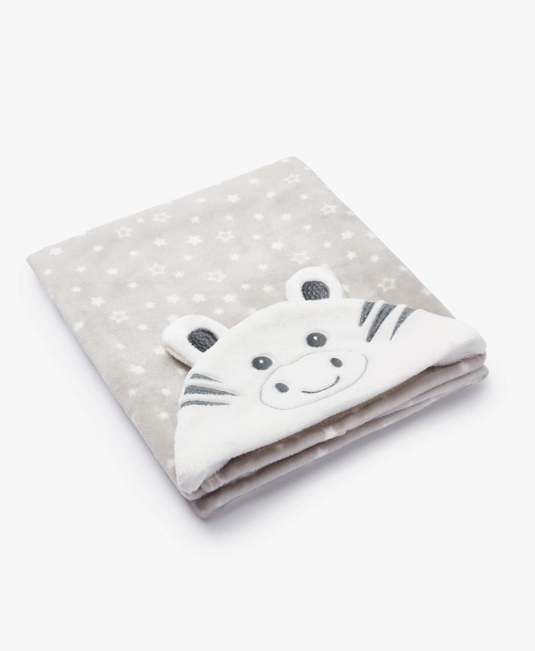 Pokrivač sa kapuljačom za bebe, bež, veličine: 75 x 100 cm
