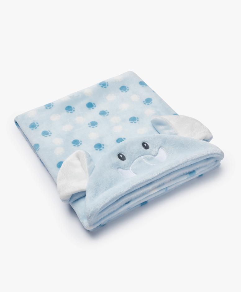Pokrivač sa kapuljačom za bebe, plavi, veličine: 75 x 100 cm